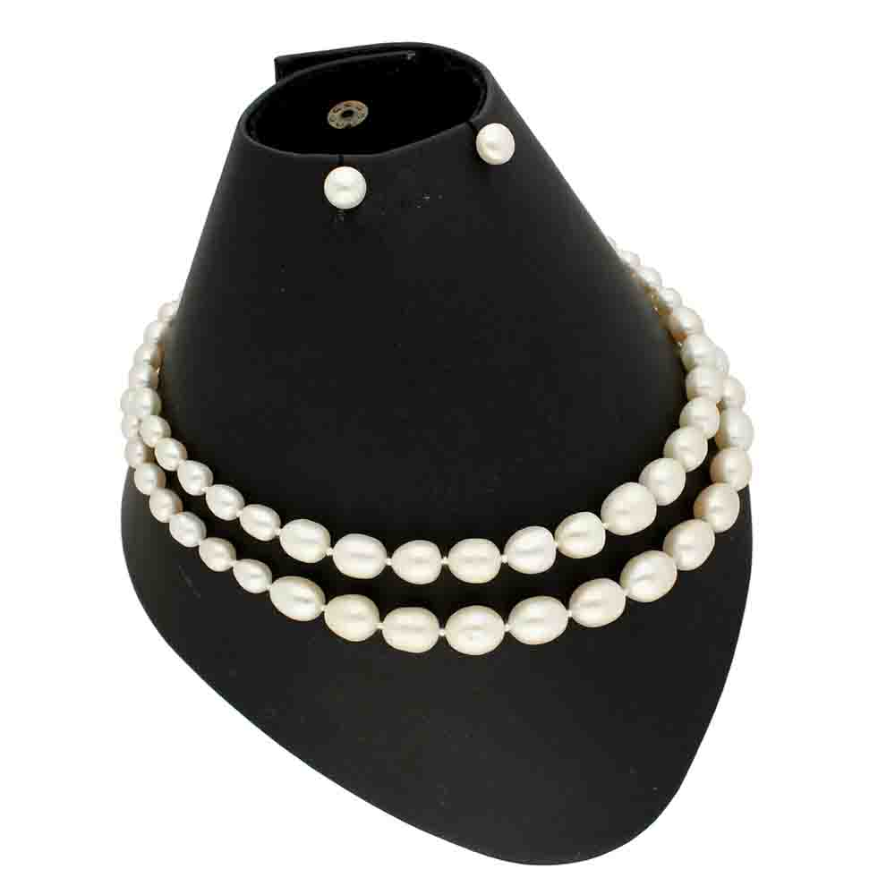 2 Lines Oval Pearl Necklace