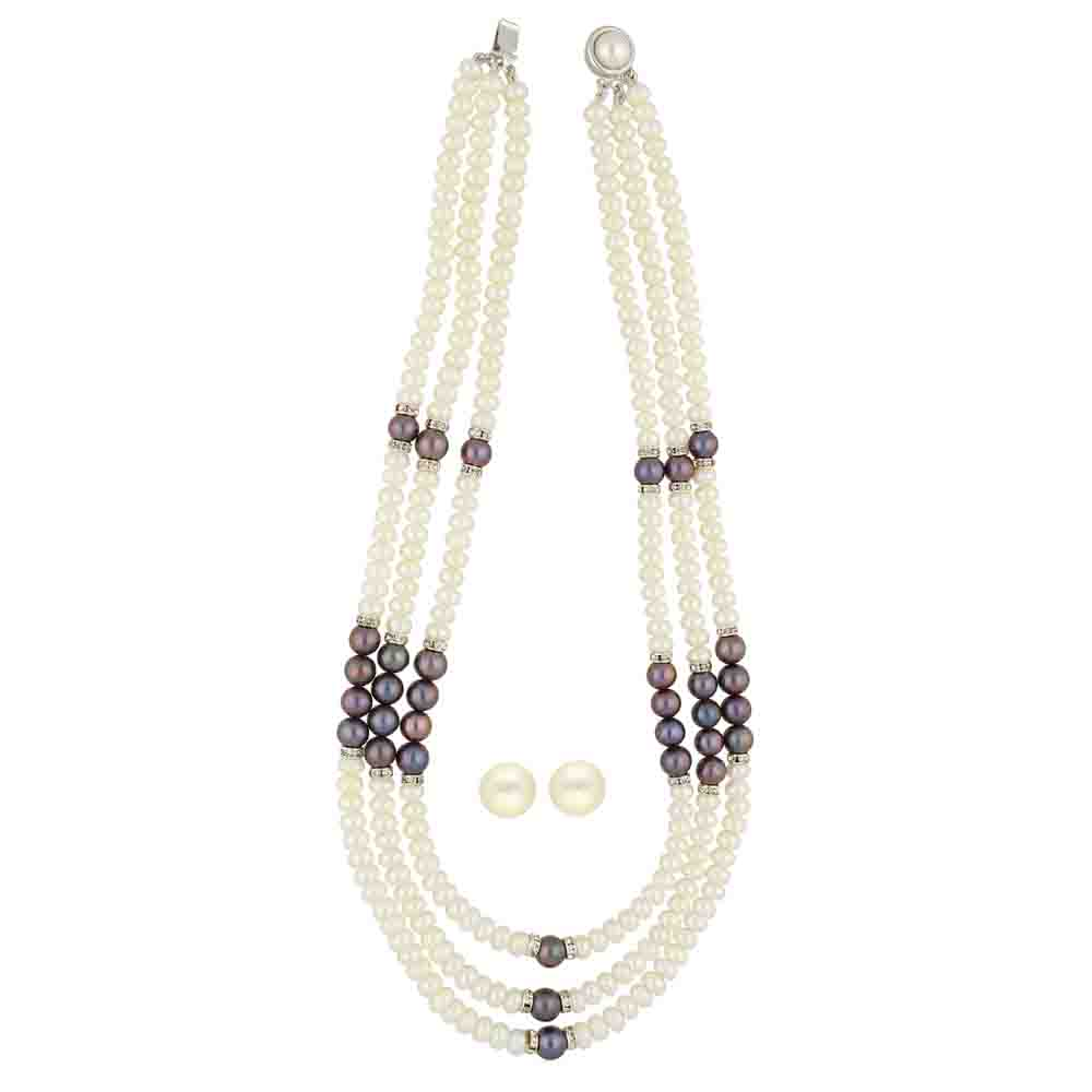 3 Lines White Pearls With Grey Pearls