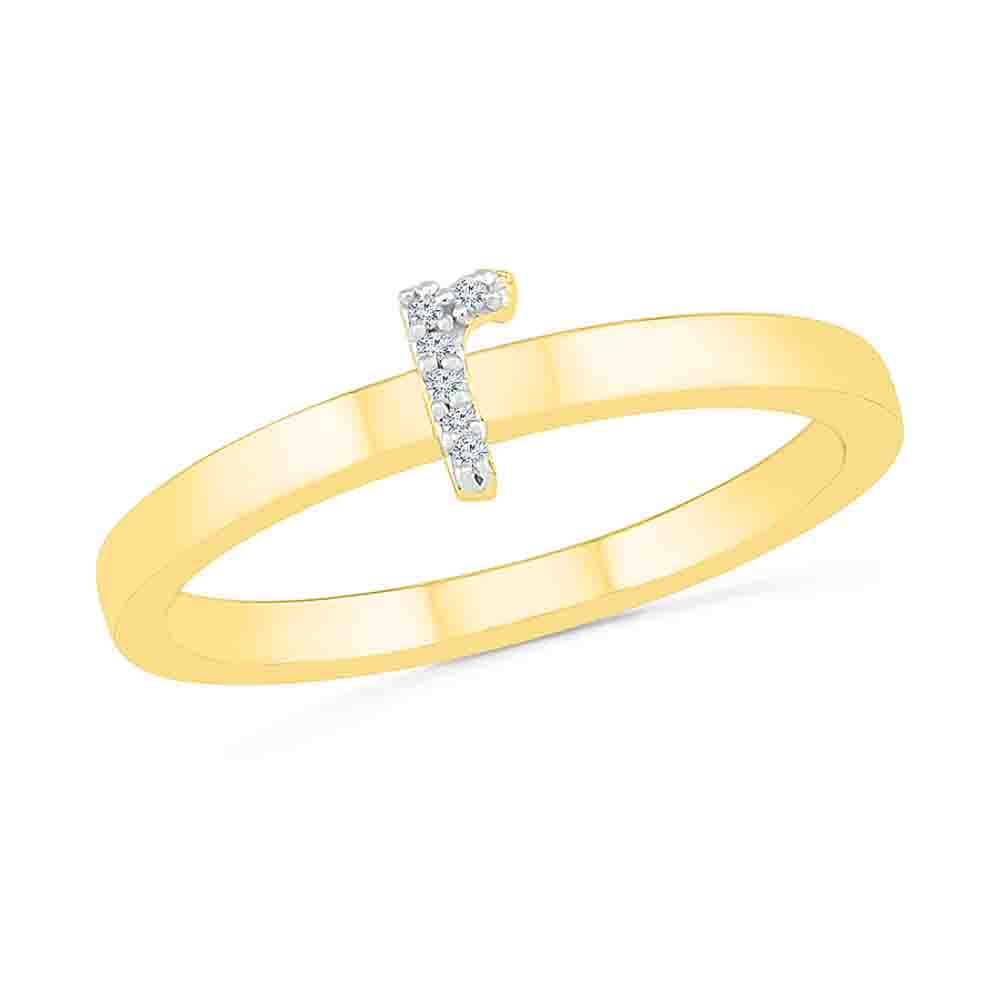 Diamond-Alphabetic R Diamond Finger Ring