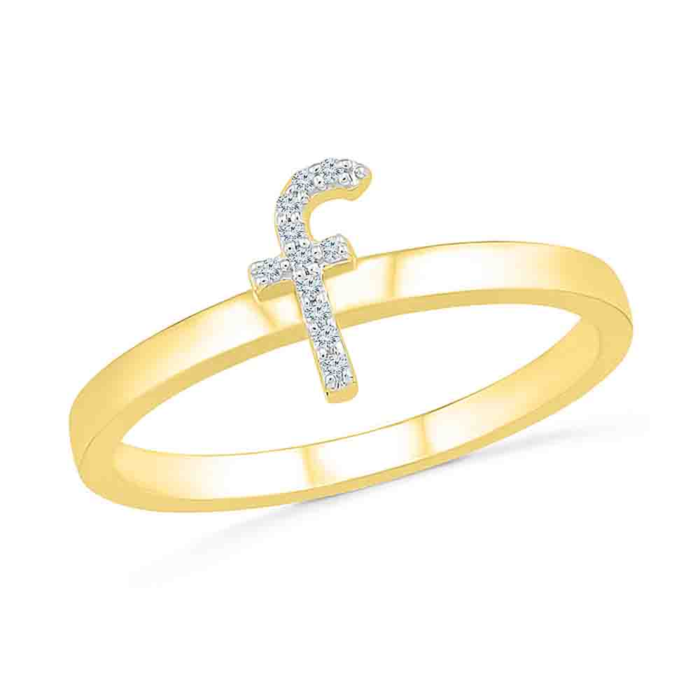 Diamond-Alphabetic F Diamond Finger Ring
