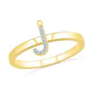 Diamond-Alphabetic J Diamond Finger Ring
