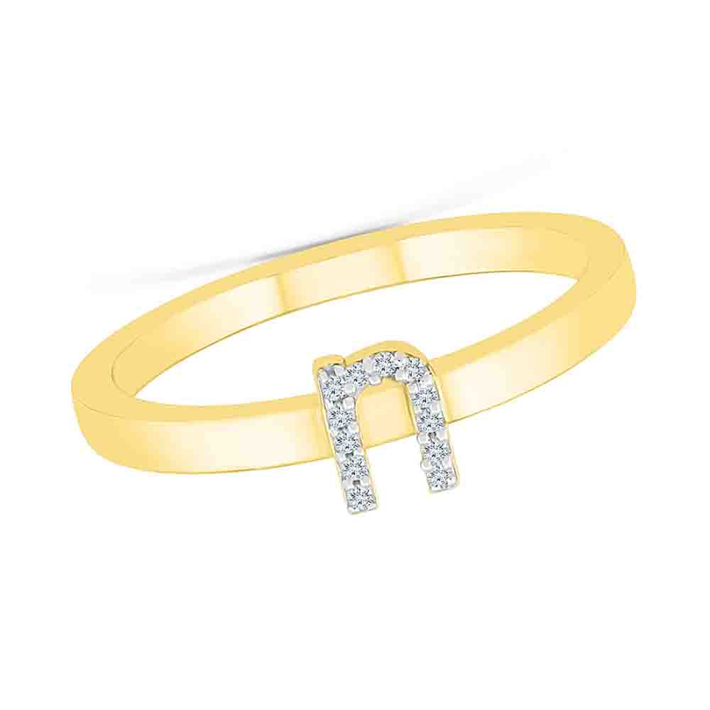 Diamond-Alphabetic N Diamond Finger Ring