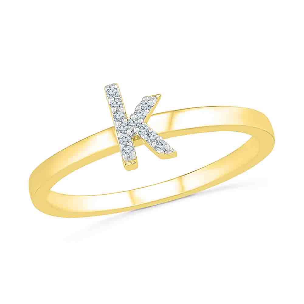 Diamond-Alphabetic K Diamond Finger Ring