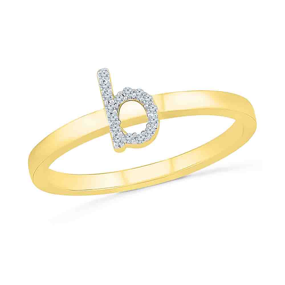 Diamond-Alphabetic B Diamond Finger Ring
