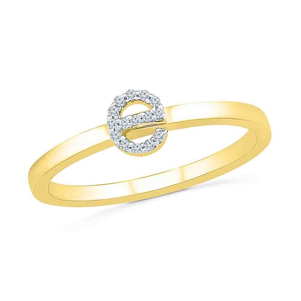 Diamond-Alphabetic E Diamond Finger Ring