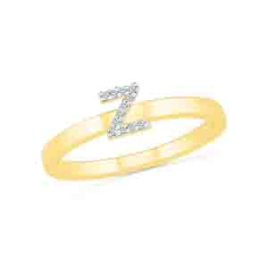Diamond-Alphabetic Z Diamond Finger Ring