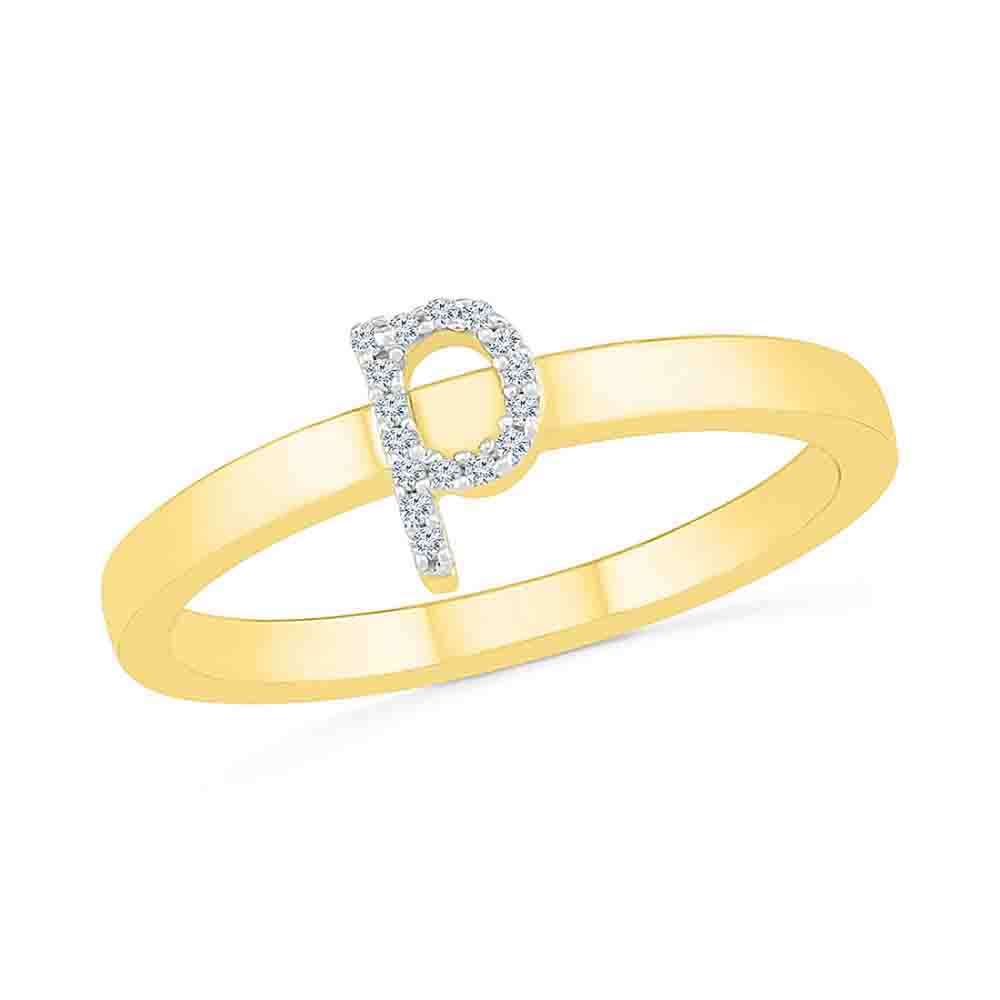 Diamond-Alphabetic P Diamond Finger Ring