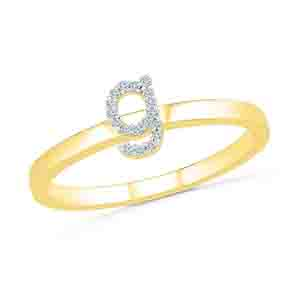 Diamond-Alphabetic G Diamond Finger Ring