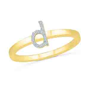 Diamond-Alphabetic D Diamond Finger Ring