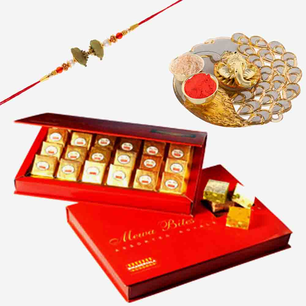 Rakhi Thali and Bikanervala Assorted Mewa Bites with Designer Rakhi