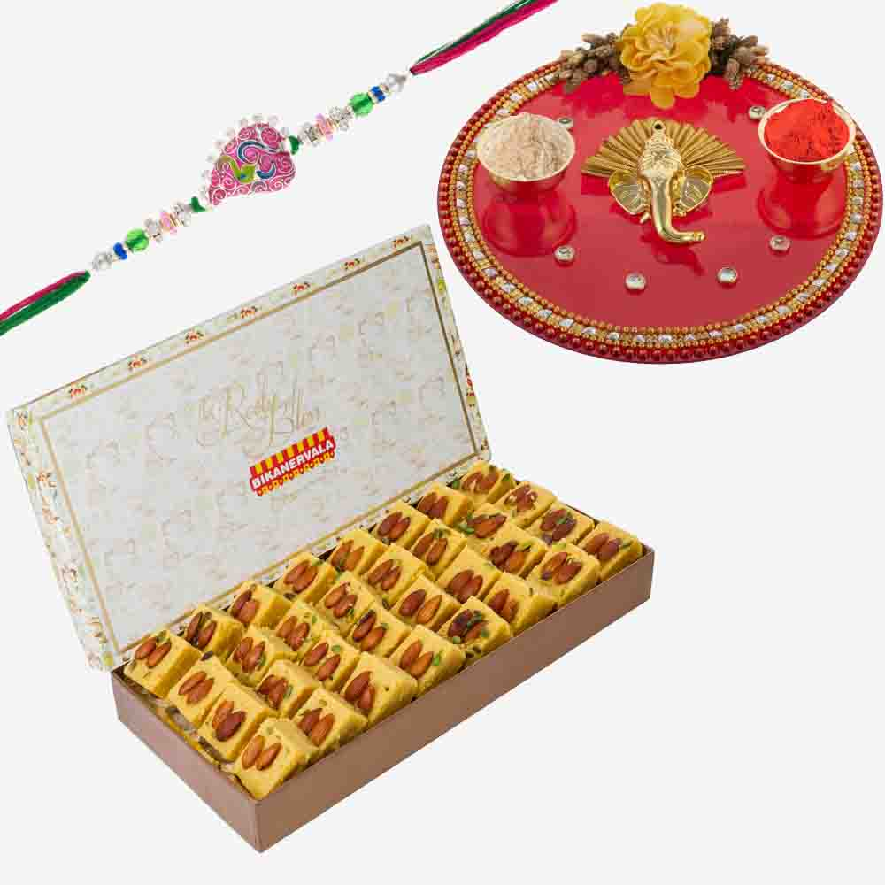 Rakhi Thali and Bikanervala Desi Ghee Patisa with Designer Rakhi