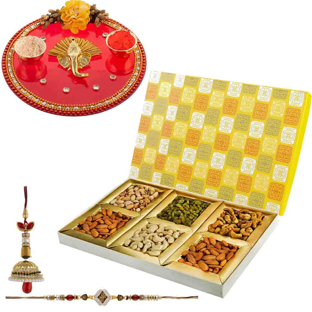 Rakhi Thali and Dry Fruits Delight with Designer Rakhi