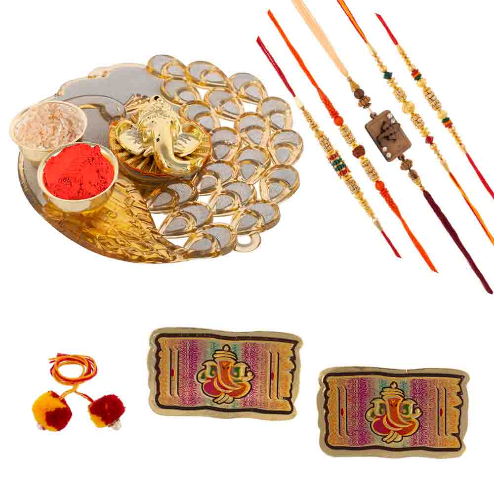 Peacock Rakhi Gift with Rakhis