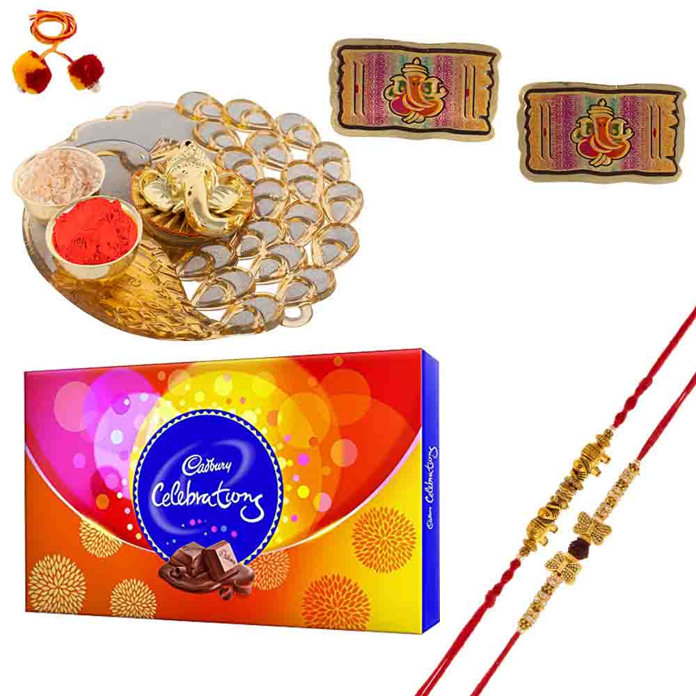 Rakhi with Thali and Cadbury's Celebrations