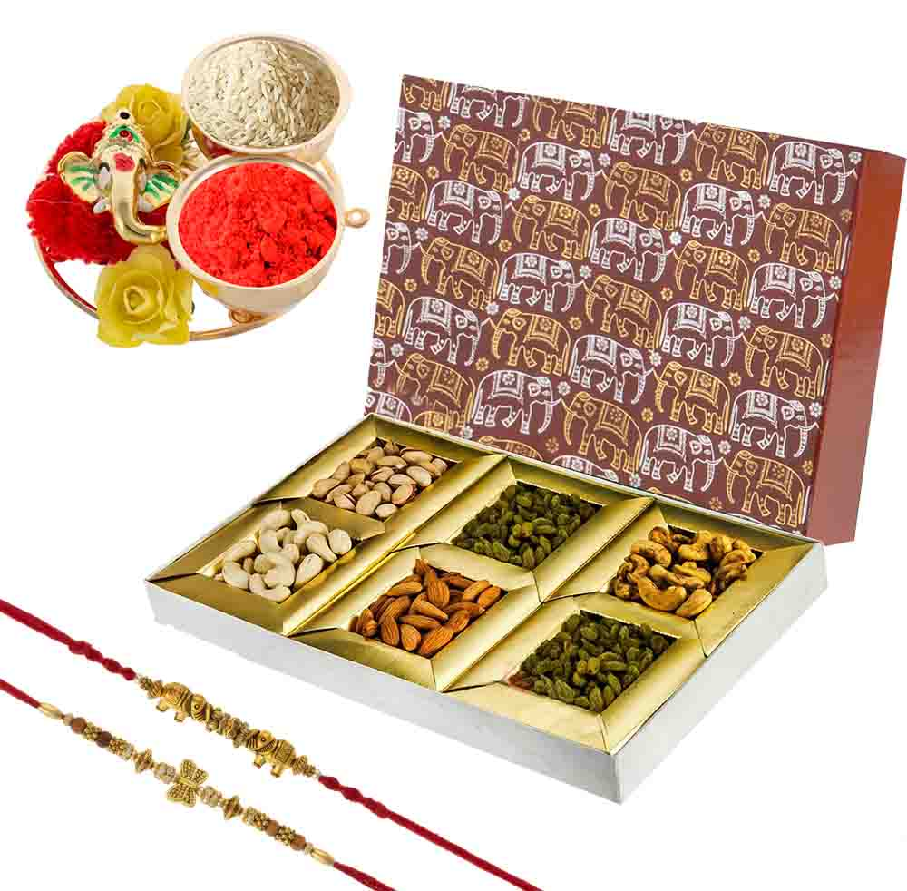 Rakhi Thali and Dry Fruits Delight with Designer Rakhis