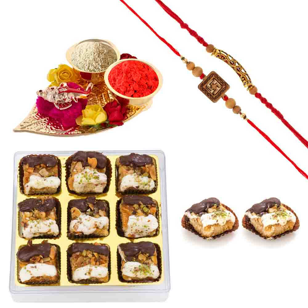 Bikanervala White n Dark Chocolate Baklava with Designer Rakhis
