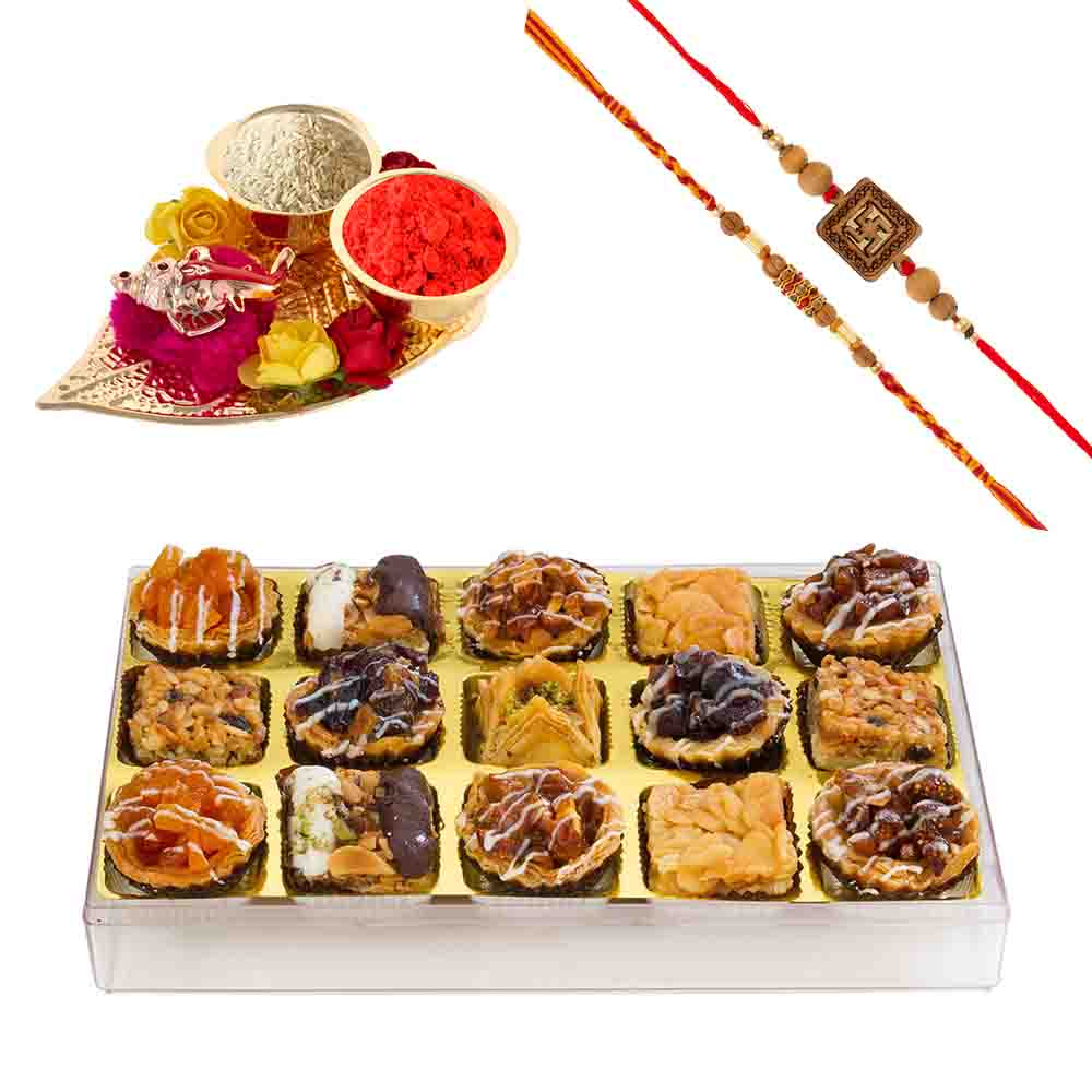 Bikanervala Premium Baklava Assortment with Designer Rakhis