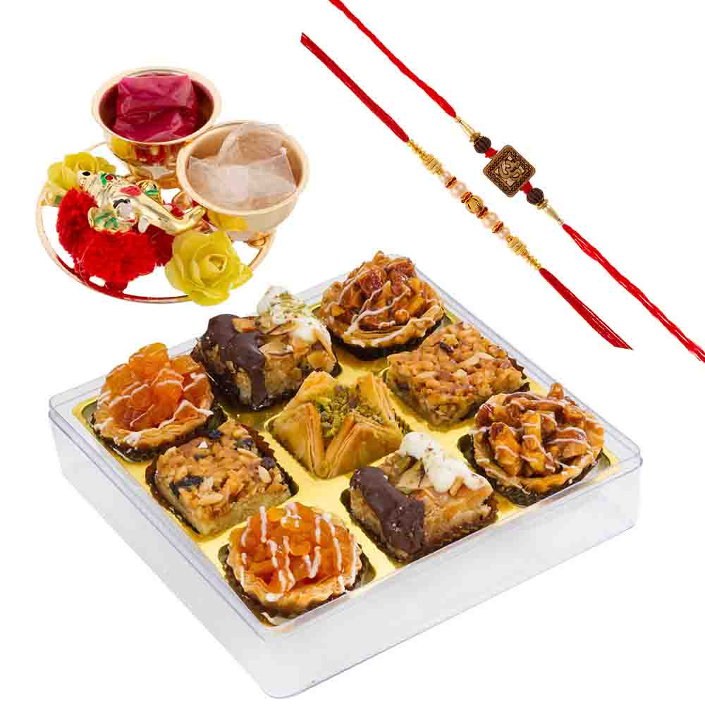 Bikanervala Baklava Delight Assortment with Designer Rakhis