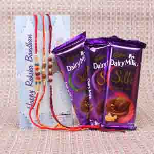 Rakhi Hampers-Chocolates Combo with Three Rudraksha Rakhi