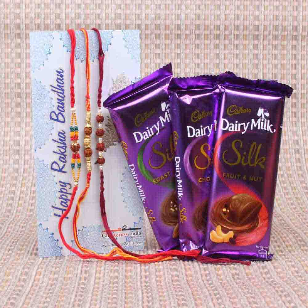 Chocolates Combo with Three Rudraksha Rakhi