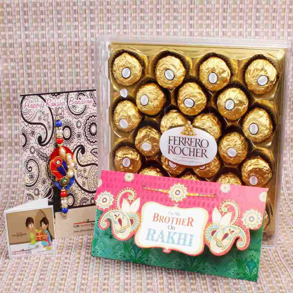 Pearl Beads Zardosi Rakhi with Ferrero Rocher Chocolate