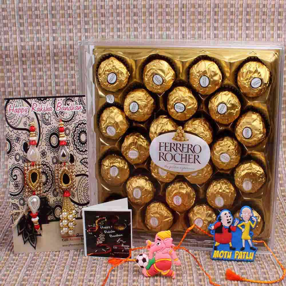 Kids Rakhi and Ferrero Rocher Chocolate