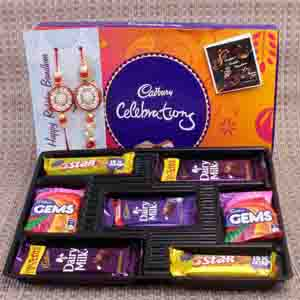 Rakhi Hampers-Designer 2 Rakhi with Cadbury Celebration Chocolate