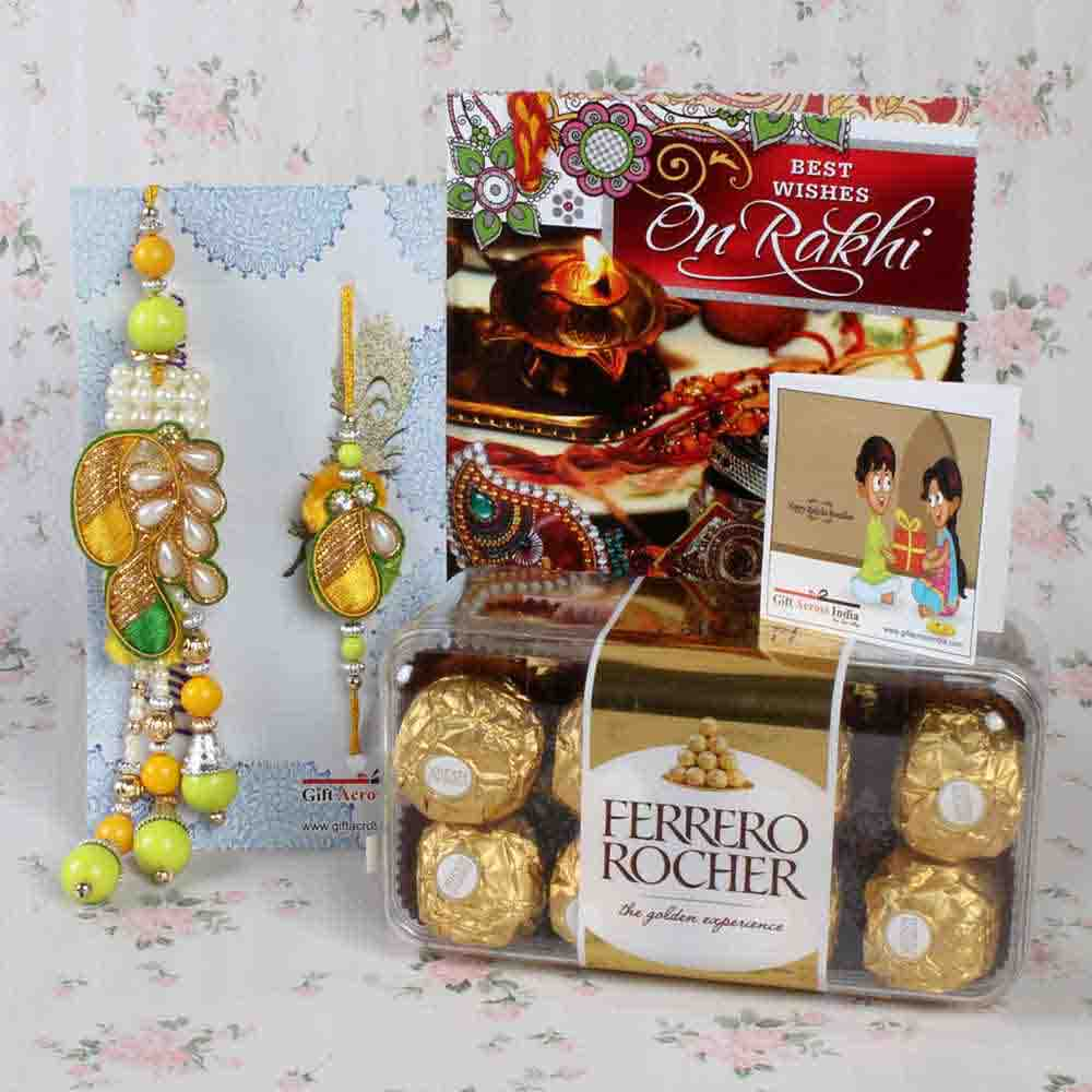 Stylish Embroidery Rakhi with Chocolate and Card