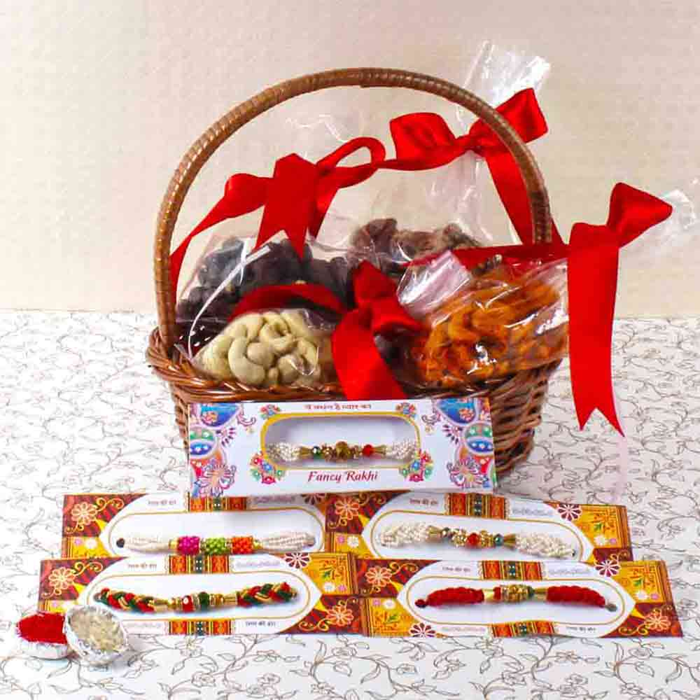 Five Beads Rakhi with Assorted Cashew Combo