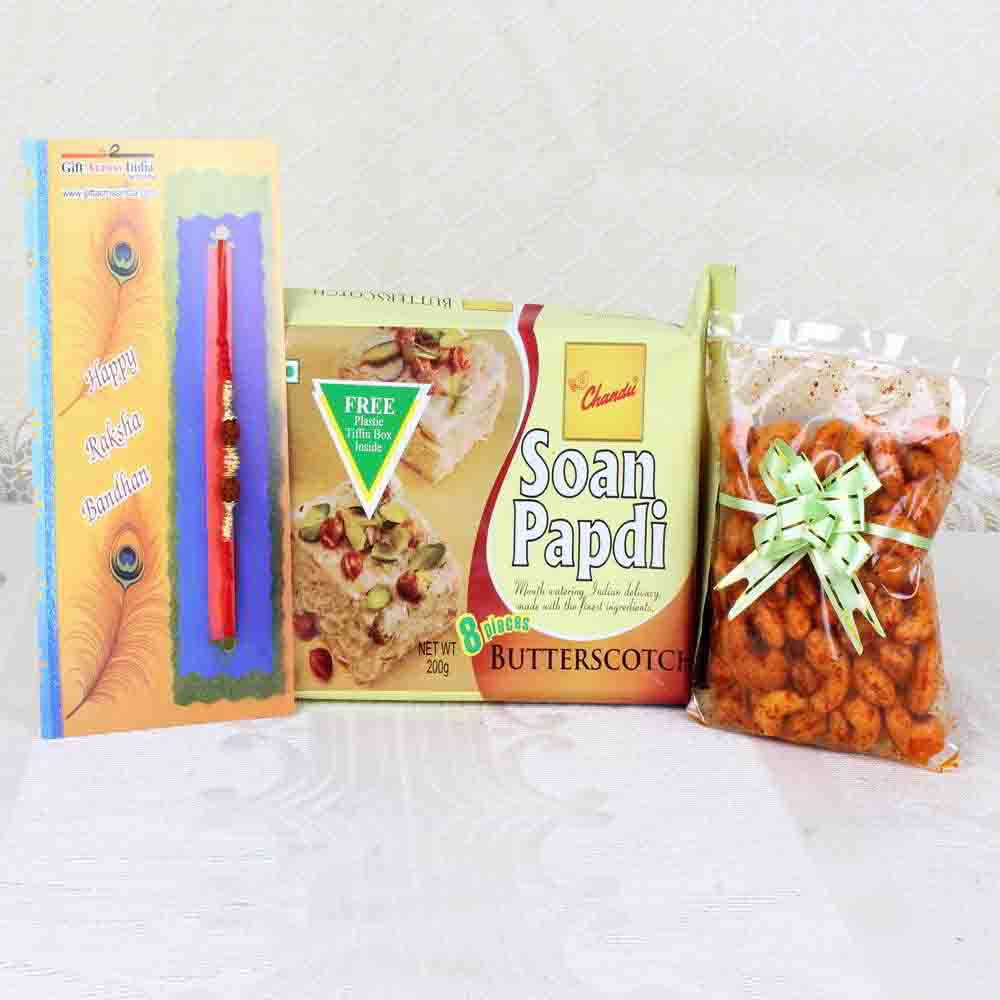 Rakhi Gift of Soan Papdi with Masala Cashews