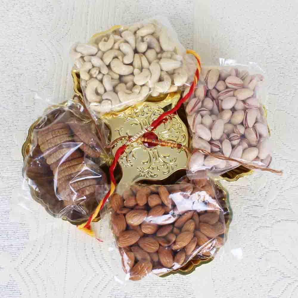 Rakhi Gift of Dry fruit in Tray
