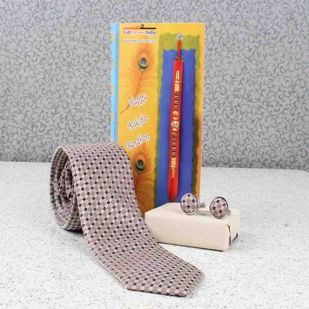 Tie and Cufflink with Rakhi Combo