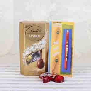 Rakhi Hampers-Assorted Chocolate with Pearl Beads Rakhi