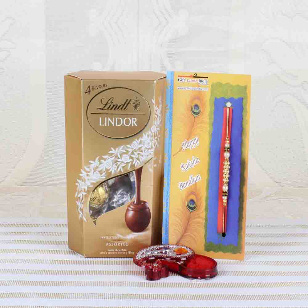 Assorted Chocolate with Pearl Beads Rakhi