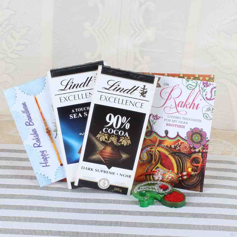 Rakhi Hampers-Two Lindt Excellence Chocolate with Rakhi and Greeting Card