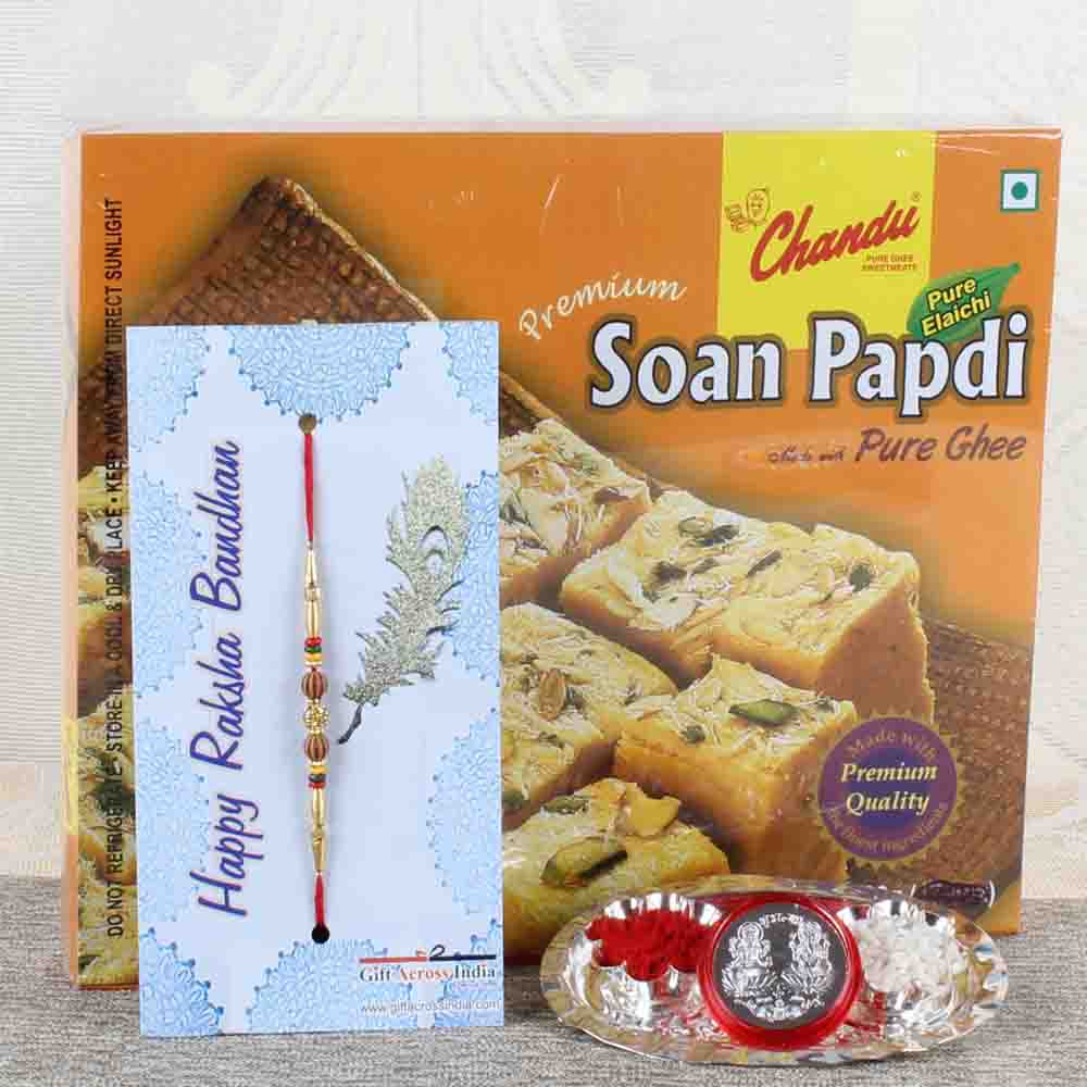 Mini Thali with Soan Papdi and Designer Rakhi