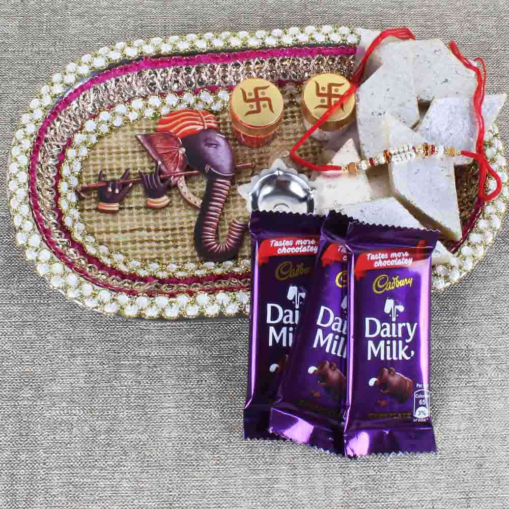 Rakhi Hampers-Ganesha Rakhi Puja Thali with Sweets and Chocolate