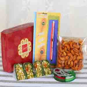 Rakhi Hampers-Masala Cashew with Sweets and Rudraksha Rakhi