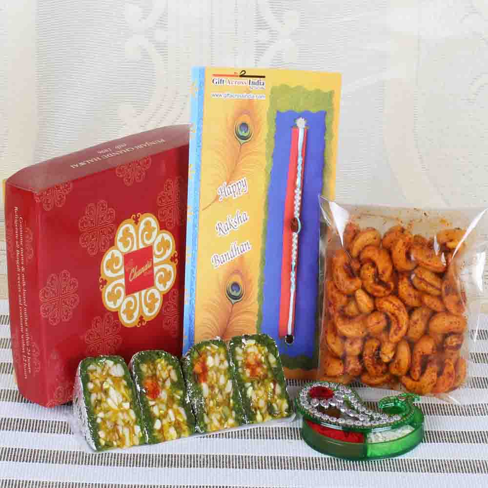 Masala Cashew with Sweets and Rudraksha Rakhi