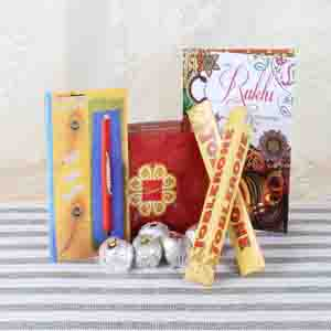 Rakhi Hampers-Zardosi Rakhi with Sweets and Chocolate Hamper
