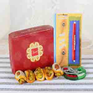 Rakhi Hampers-Badam Tacos Sweets with Charming Designer Rakhi