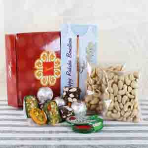 Rakhi Hampers-Assorted Sweets with Dry Fruits and Rakhi