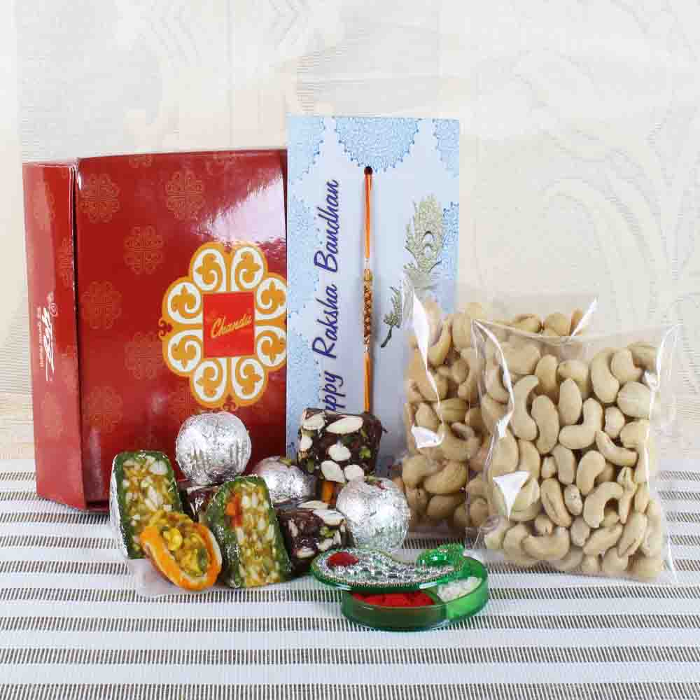 Assorted Sweets with Dry Fruits and Rakhi