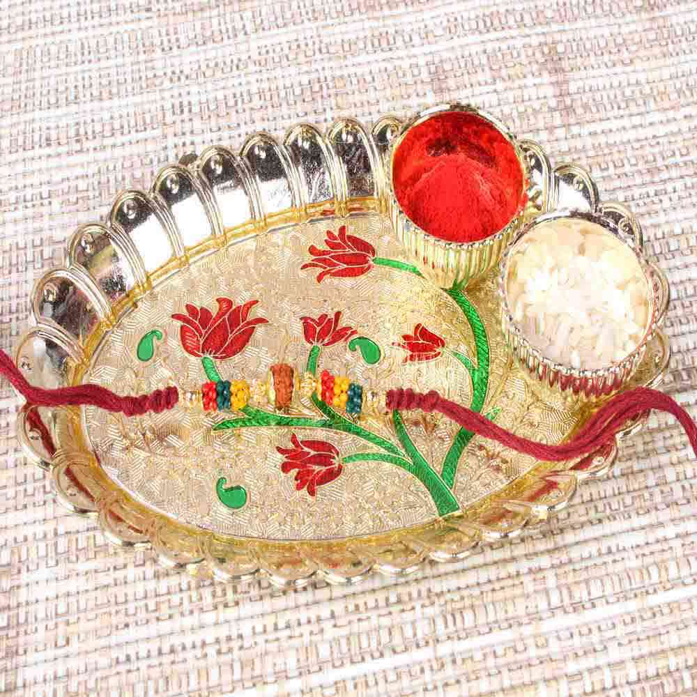 Rudraksha Rakhi with Mini Designer Thali