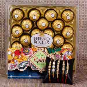 Rakhi Hampers-Five Set Rakhis with Ferrero Rocher Chocolate Box