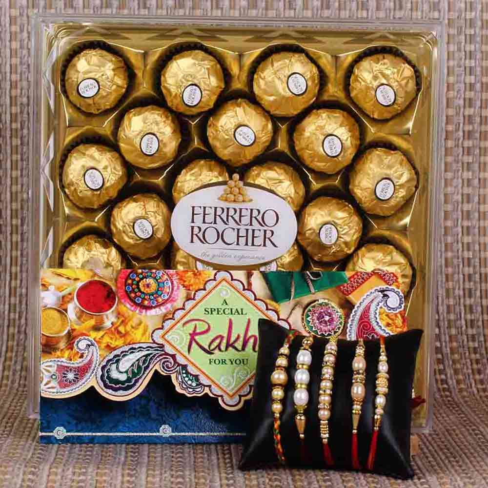 Five Set Rakhis with Ferrero Rocher Chocolate Box