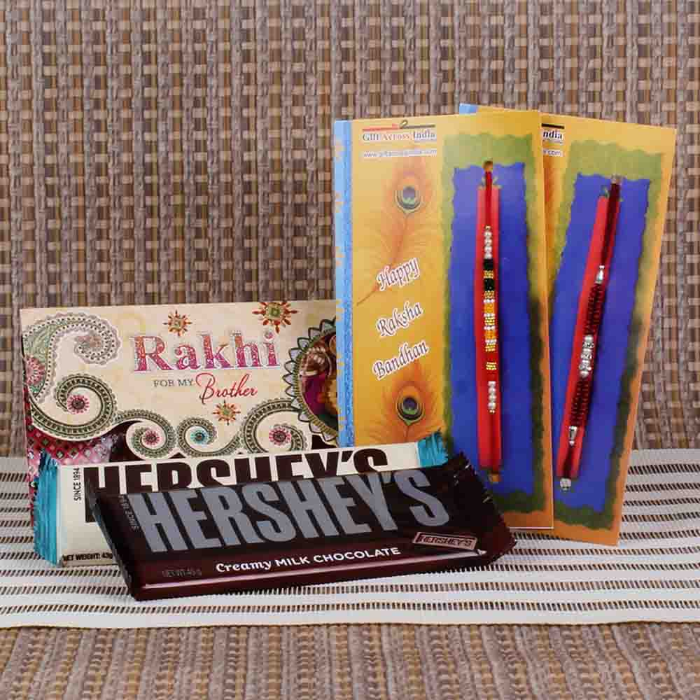 Hersheys Chocolates with Pair of Rakhi