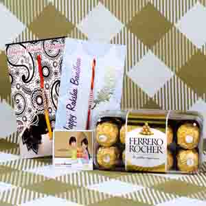 Rakhi Hampers-Ferrero Rocher Chocolate with Two Zardosi Rakhi
