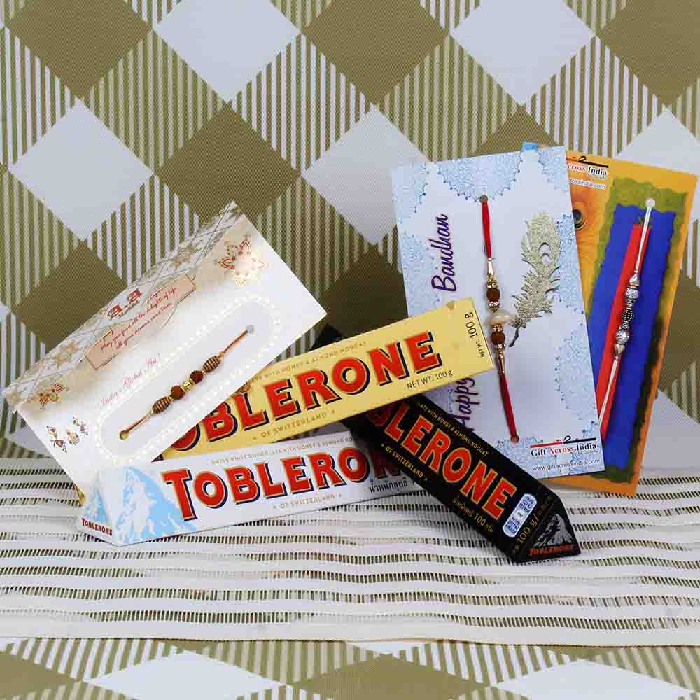 Assorted Toblerone Chocolate with Three Rakhi