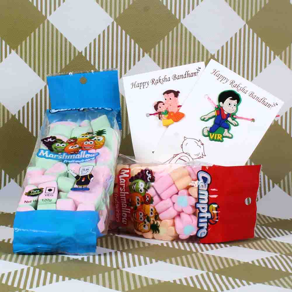 Two Cartoon Character Kids Rakhi with Chocolate